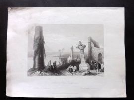Bartlett Ireland 1842 Antique Print. Ancient Cross, Clonmacnoise
